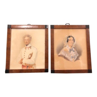 Pair of Antique Watercolor Paintings of Count & Countess Kinsky by F. Lieder