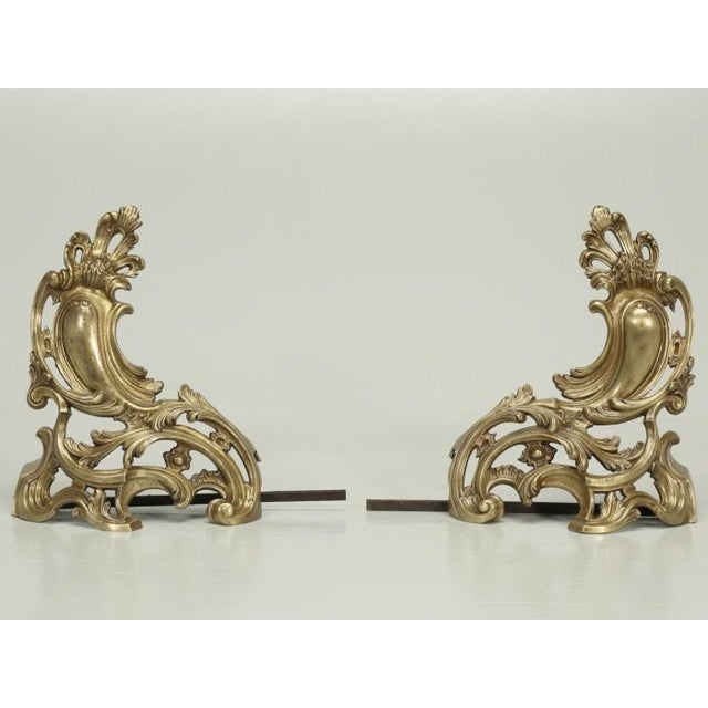 Antique French Solid Bronze Andirons or Chenets - a Pair For Sale - Image 9 of 9