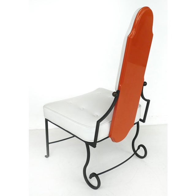 Italian Orange Lacquer Wrought Iron Desk & Chair - 2 Pieces For Sale - Image 11 of 13