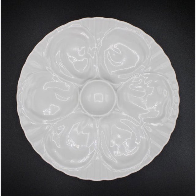 """A superb French Pillivuyt Oyster Plate. High quality, white French Oyster Plate with a brilliant gloss finish. """"Pillivuyt..."""