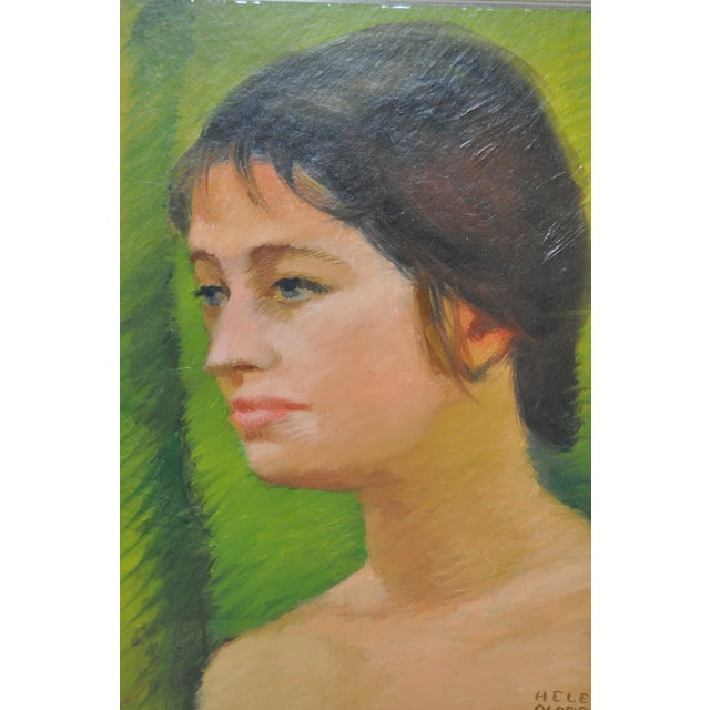 Helen Clark Oldfield 1970 Modern Portrait Painting For Sale - Image 4 of 6