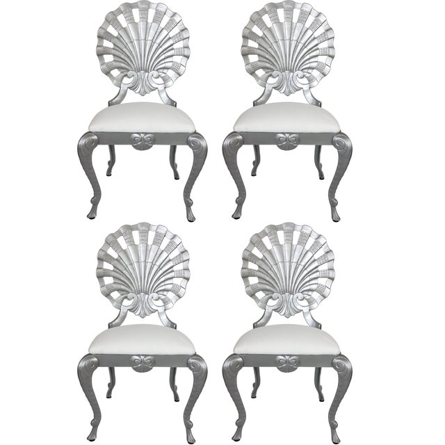 Silver 1950s Hollywood Regency Style Grotto Side Chairs in Silver - Set of 4 For Sale - Image 8 of 8