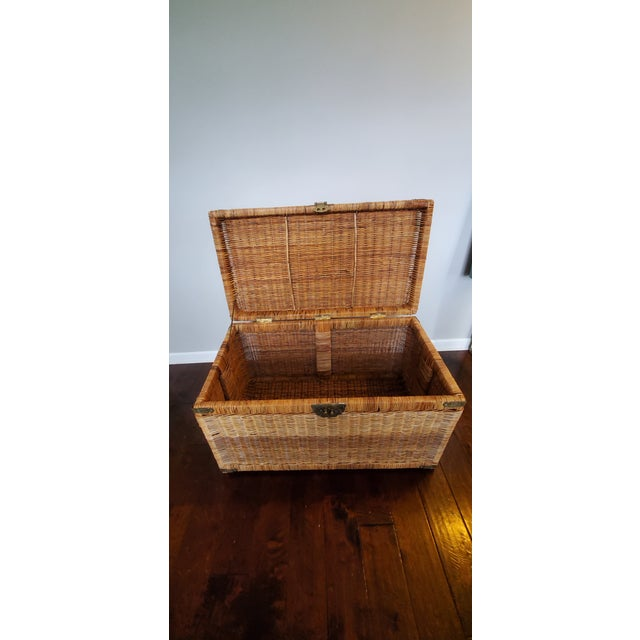 Tan Vintage Wicker Rattan Trunk For Sale - Image 8 of 13