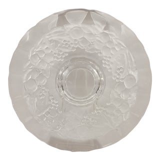 Vintage Embossed Glass Cake Plate Frosted White Fruit and Leaf Design For Sale