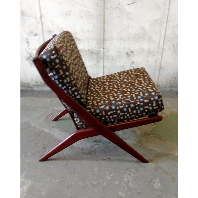 Teak Scissor Chair With Space Age Fabric by Folke Ohlsson for DUX For Sale - Image 11 of 11
