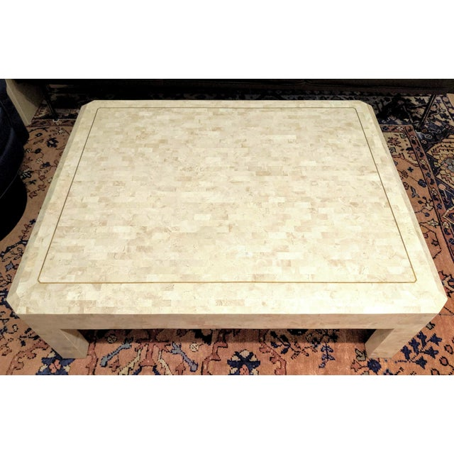 Metal Maitland Smith Tesselated Marble (Coral) Coffee Table For Sale - Image 7 of 10