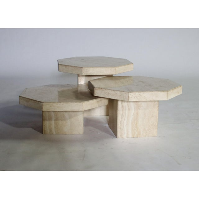 White Trio of Travertine Tables With Hexagon Shape-Tops For Sale - Image 8 of 9