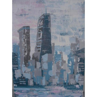 2000s Abstract Hancock Tower Chicago Painting Preview
