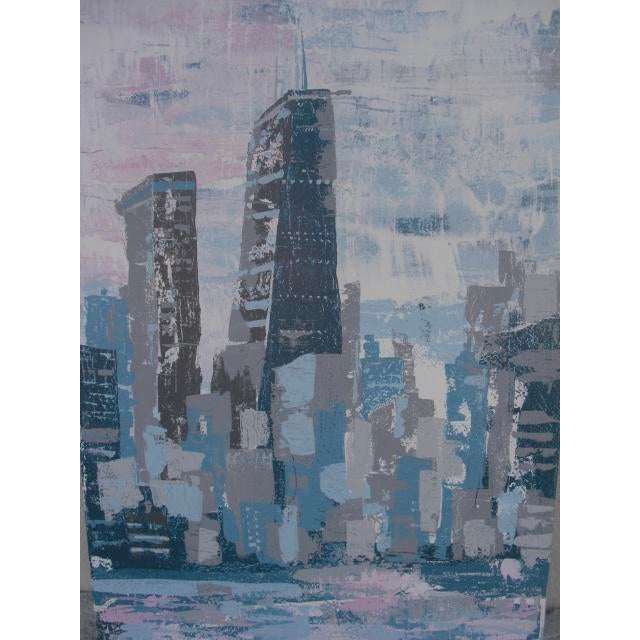 This abstract acrylic on wood abstract cityscape of Chicago's famous Hancock Tower is in wonderful shades of blue with a...