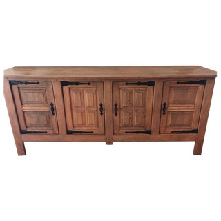 French Pickled Oak Sideboard Credenza Buffet With Keys, France, 1940s For Sale