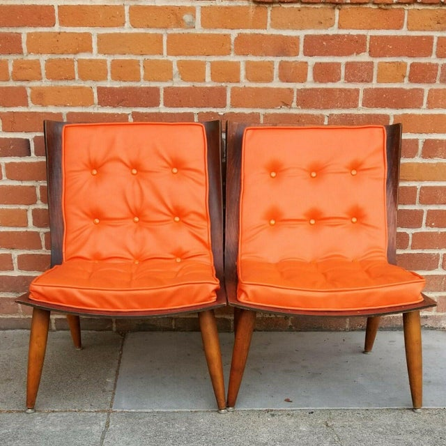 Pair of mid-century modern bentwood chairs by Carter Brothers, restored with new foam and vinyl. Price is for the pair.