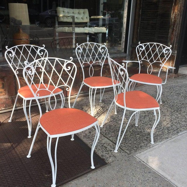 1960s Mid Century Wrought Iron Patio Garden Dining Chair Set- 6 Pieces For Sale - Image 5 of 9