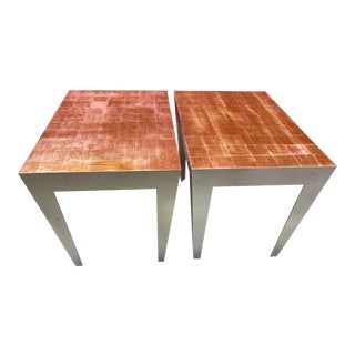 1980s Vintage Silver and Gold Leaf Accent Tables- A Pair For Sale