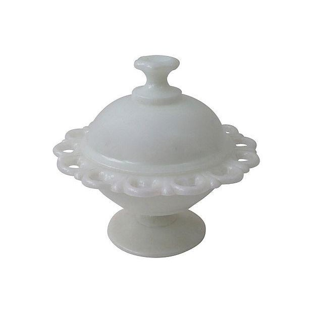 Milk Glass Covered Compote - Image 1 of 6