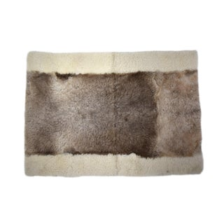 "Sheepskin Wool Rectangle Decorative Rug Off-White Brown 2'6""x3'5"" For Sale"