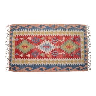 Hand Woven Turkish Rug Kilim Wool Rug Flat Weave Area Rug - 3′5″ × 5′9″ For Sale