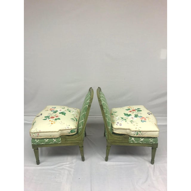French French Style Green-Painted Slipper Chairs - A Pair For Sale - Image 3 of 13
