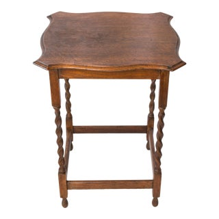 Antique English Oak Barley Twist Side Table For Sale