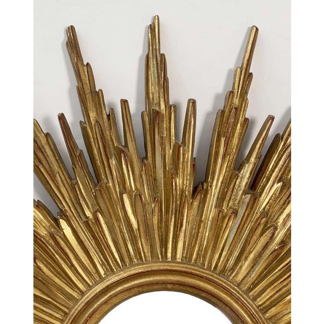 Mid 20th Century Belgian Gilt Sunburst or Starburst Convex Mirror (Diameter 31 1/2) For Sale - Image 5 of 13