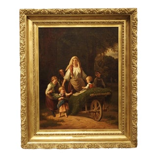Blessings of Home and Harvest, Antique Oil on Canvas Painting, Late 19th Century For Sale