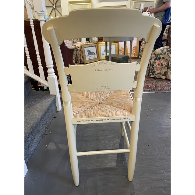 Vintage Limited Edition Hancock Christmas Rush Seat Side Chair For Sale In Boston - Image 6 of 7