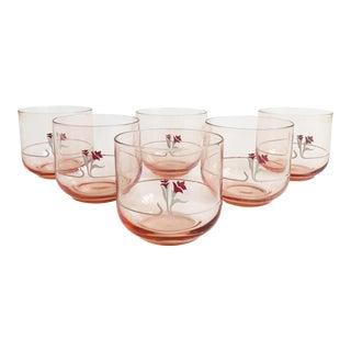 Vintage 1980s Blush Pink Floral Juice Glasses - Set of 6 For Sale