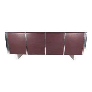 Vintage Modern Sideboard - Glass, Leather, Chrome