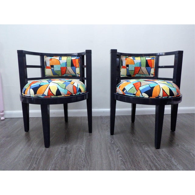 Textile Modern Barrel Style Modern Chairs - a Pair For Sale - Image 7 of 7