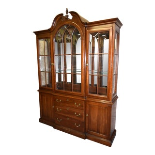 Vintage Two Piece Ethan Allen Traditional Style China Cabinet W/Bubble Glass For Sale