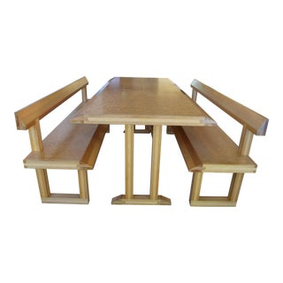 Wooden Trestle Table & Benches