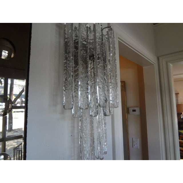 Italian Vintage Mid-Century Italian Venini Style Murano Glass Icicle Sconces - A Pair For Sale - Image 3 of 7