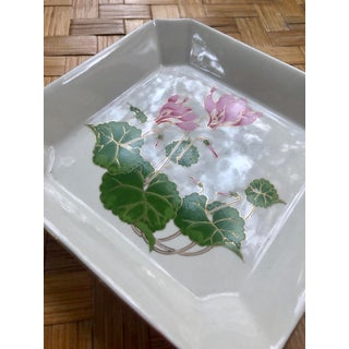 20th Century Japanese Pink Cyclamen Porcelain Square Catchall Dish Preview