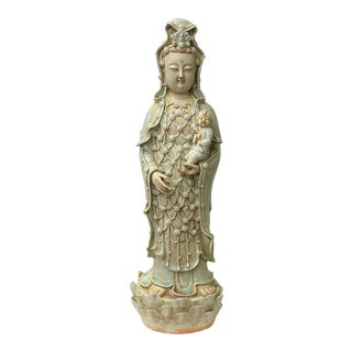 Vintage Chinese Tong Style Celadon Porcelain Kwan Yin Bodhisattva Statue For Sale