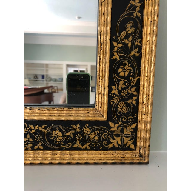 Black Magnificent Large Black and Gold Regency Style Mirror For Sale - Image 8 of 10