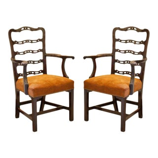 Pair of Mahogany Ladder Back Chairs