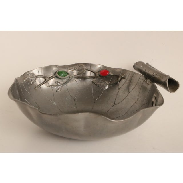 Chinese Gemmed Pewter Lotus Bowl For Sale - Image 9 of 9