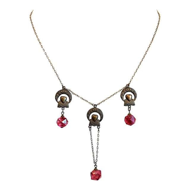 1920s Deco Era Brass and Pink Faceted Glass Necklace For Sale