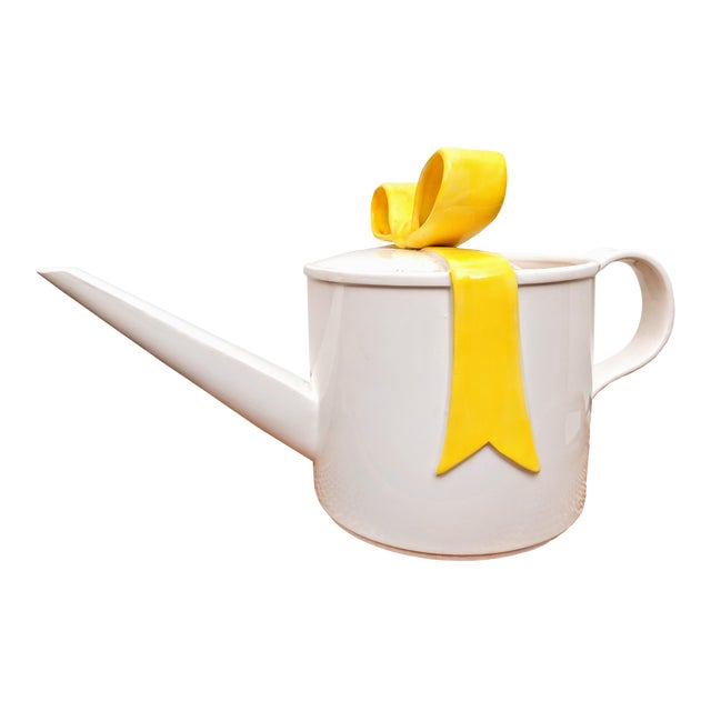 Fitz and Floyd Yellow Bow Watering Can For Sale