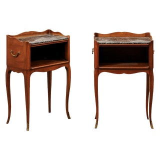 French Marble-Top Side Chests-a Pair For Sale