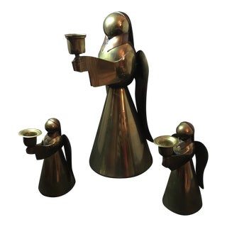 1960s Mid Century Modern Brass Angel Candle Stick Holders - Set of 3 For Sale