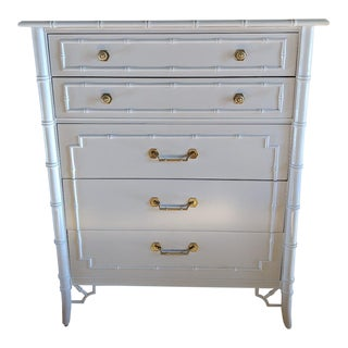1950s Hollywood Regency Thomasville Allegro Faux Bamboo Dresser For Sale