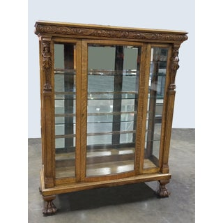 French Country r.j. Horner Bros. Style Oak Carved Curio Display Cabinet W Claw Feet Preview
