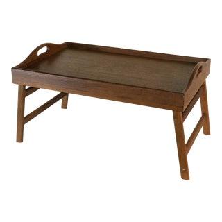 Teak Wood Folding Breakfast Serving Tray For Sale