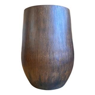 Large Palm Wood Floor Vase For Sale