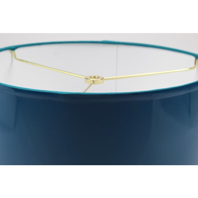 Large Teal High Gloss Drum Lampshade For Sale - Image 6 of 7