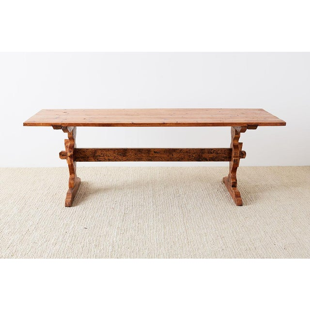 Baroque Rustic Italian Baroque Style Pine Trestle Farm Table For Sale - Image 3 of 13