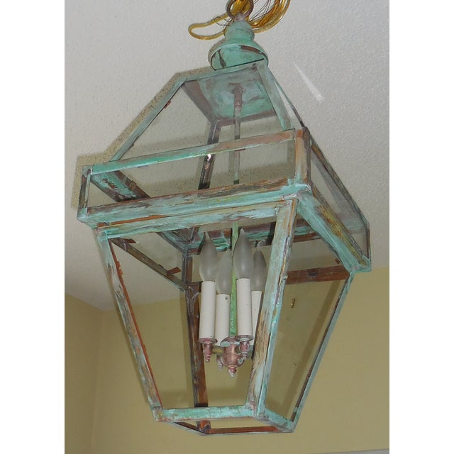 Four Sides Architectural Hanging Copper Lantern - Image 10 of 11