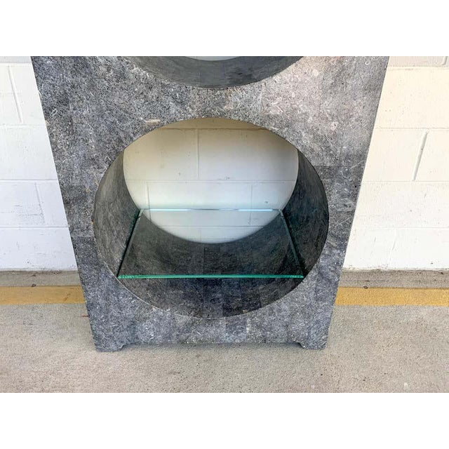 Modern Modern Tessellated Stone Monolithic Bookcase / Vitrine For Sale - Image 3 of 13