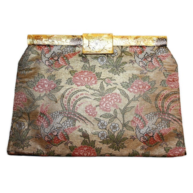 1930's French Bird Motif Brocade Purse With Matching Frame and Fabric For Sale In Los Angeles - Image 6 of 6