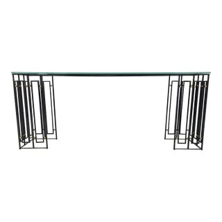 Modern Caracole Metal and Glass Line Up Console Table For Sale